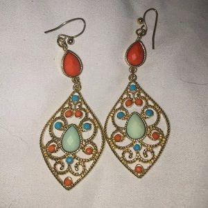 Jewelry - Turquoise and orange earrings